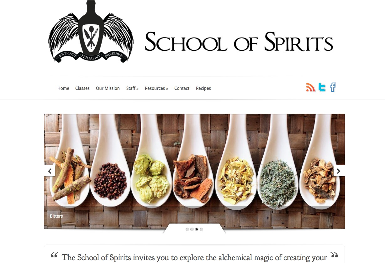Screenshot of School of Spirits website