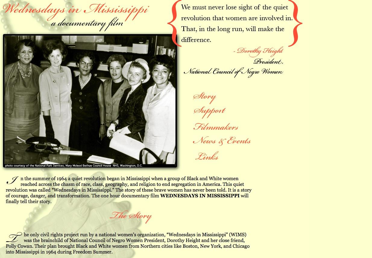 Screenshot of Wednesdays in Mississippi website