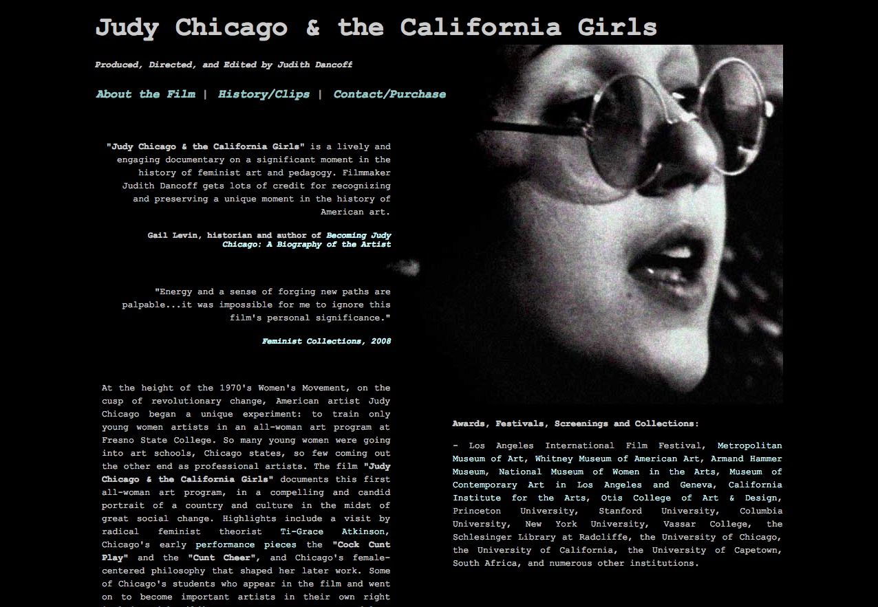 Screenshot of Judy Chicago and the California Girls website
