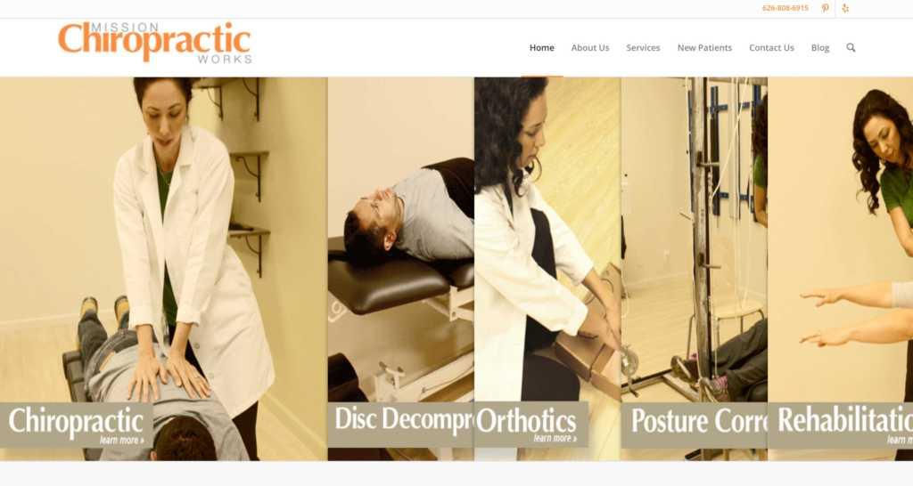 Screenshot of Mission Chiropractic Works website