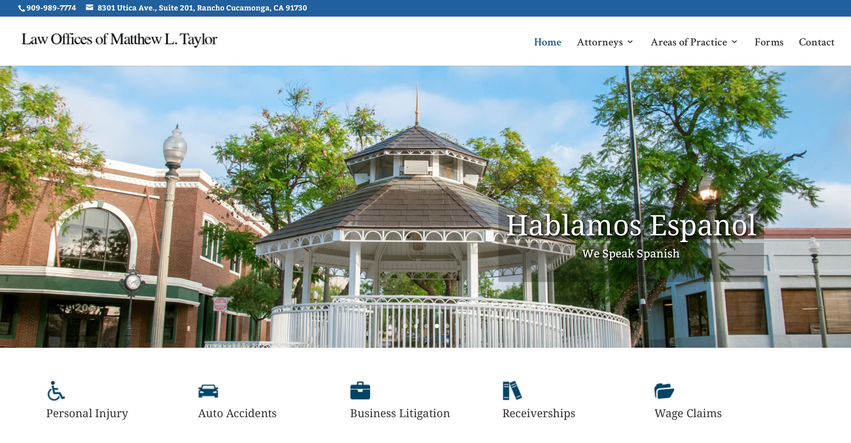 Screenshot of Attorney Glendora website