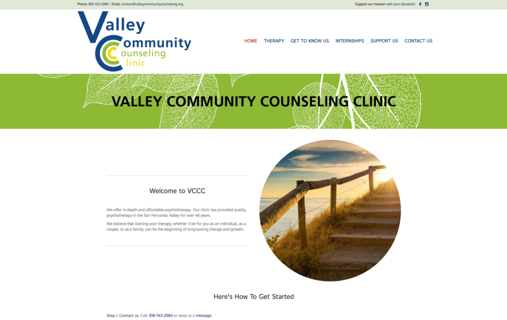Screenshot of Valley Community Counseling Center